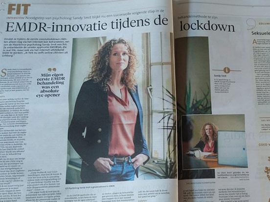 Foto van het interview in de krant Noordhollands Dagblad
